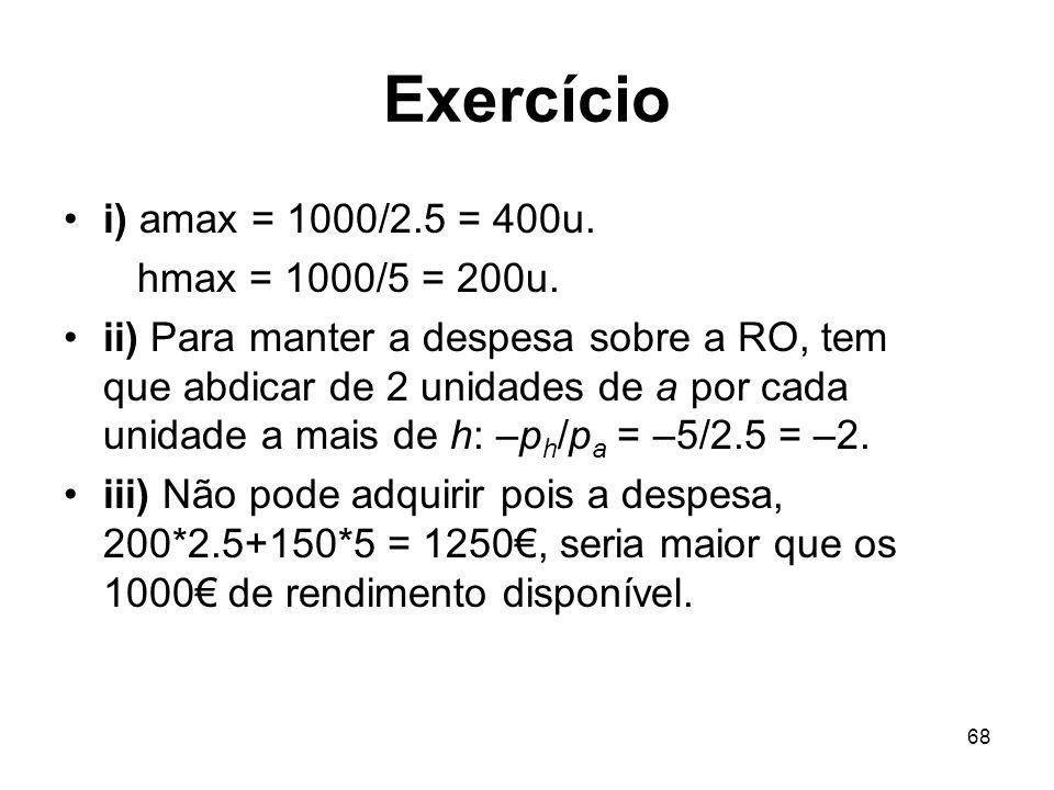Exercício i) amax = 1000/2.5 = 400u. hmax = 1000/5 = 200u.
