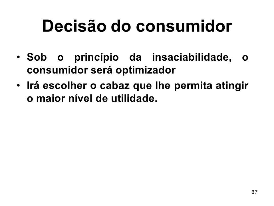 Decisão do consumidor Sob o princípio da insaciabilidade, o consumidor será optimizador.