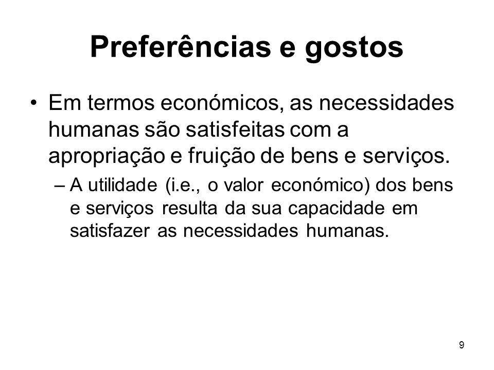 Preferências e gostos Em termos económicos, as necessidades humanas são satisfeitas com a apropriação e fruição de bens e serviços.