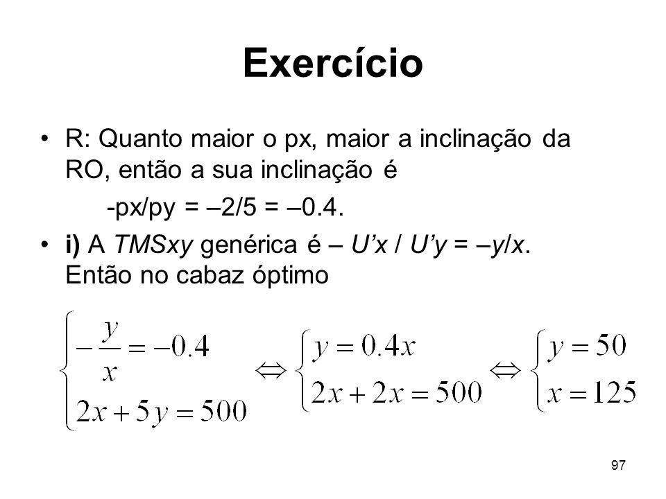 Exercício R: Quanto maior o px, maior a inclinação da RO, então a sua inclinação é. -px/py = –2/5 = –0.4.