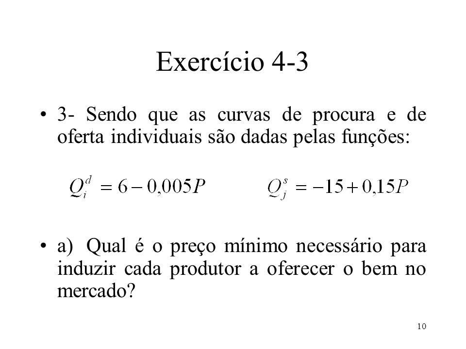 Exercício 4-3 3- Sendo que as curvas de procura e de oferta individuais são dadas pelas funções: