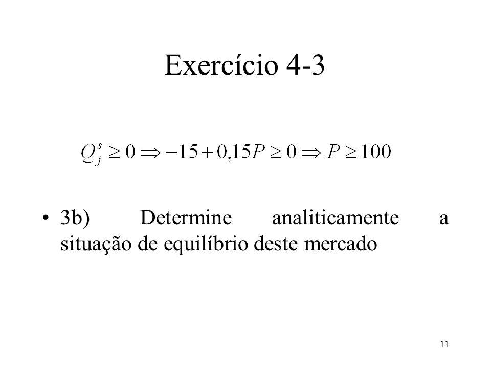 Exercício 4-3 3b) Determine analiticamente a situação de equilíbrio deste mercado