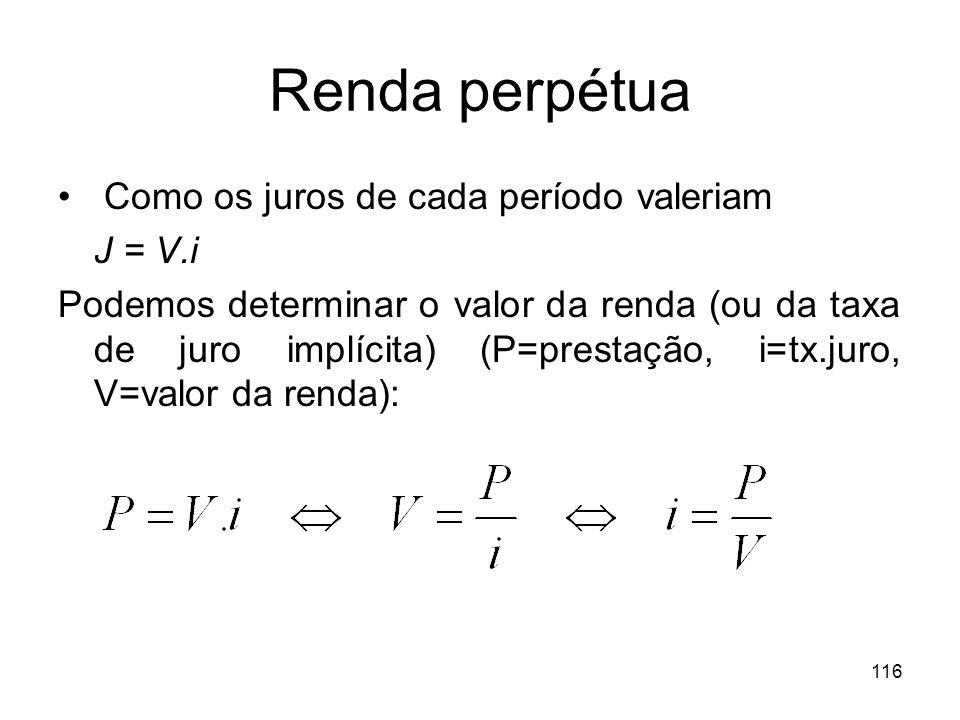 Renda perpétua Como os juros de cada período valeriam J = V.i