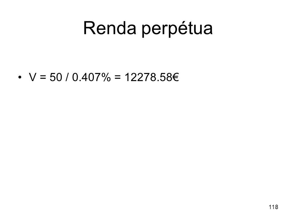 Renda perpétua V = 50 / 0.407% = 12278.58€