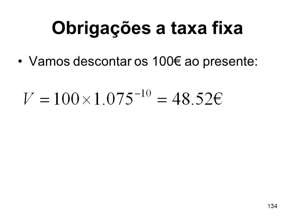 Obrigações a taxa fixa Vamos descontar os 100€ ao presente: