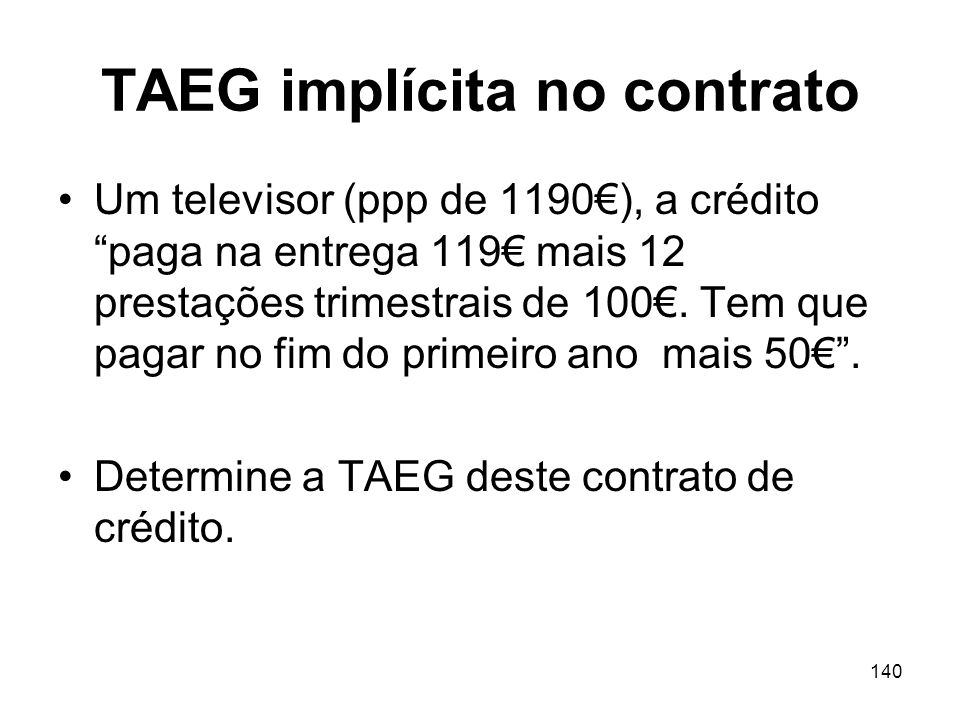 TAEG implícita no contrato