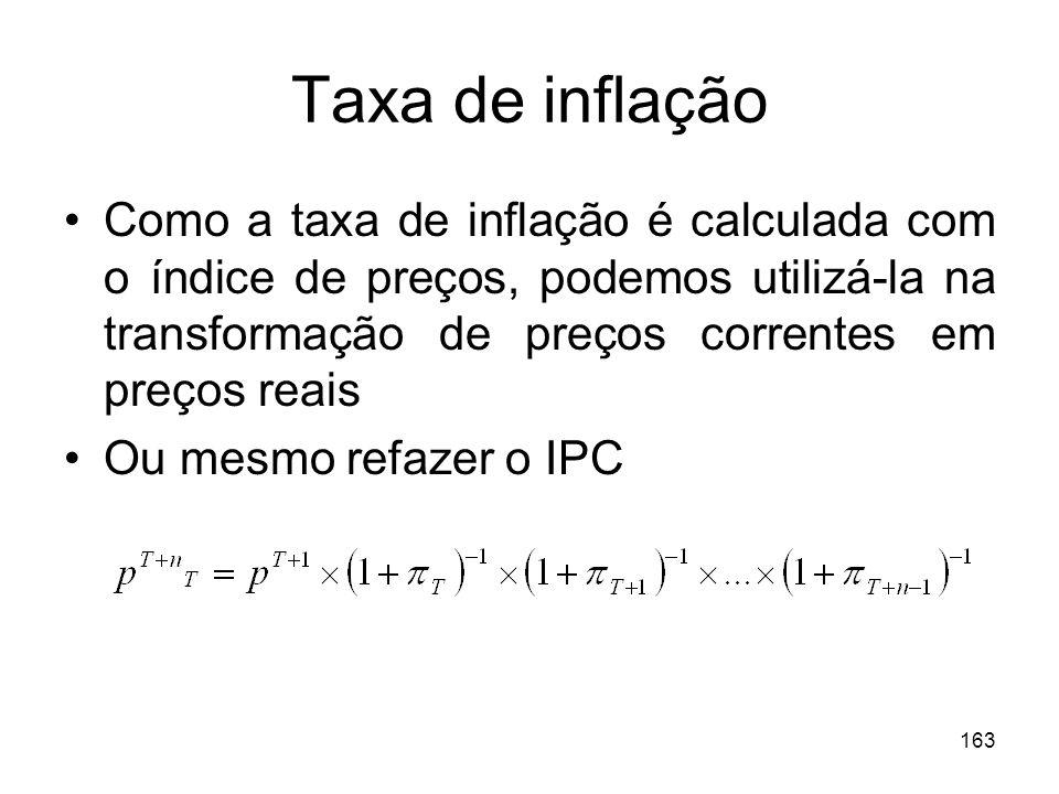 Taxa de inflaçãoComo a taxa de inflação é calculada com o índice de preços, podemos utilizá-la na transformação de preços correntes em preços reais.