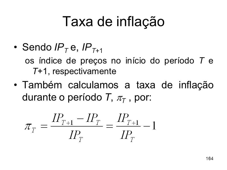 Taxa de inflação Sendo IPT e, IPT+1