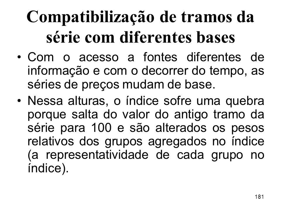 Compatibilização de tramos da série com diferentes bases