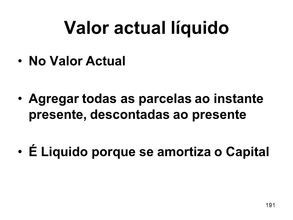Valor actual líquido No Valor Actual