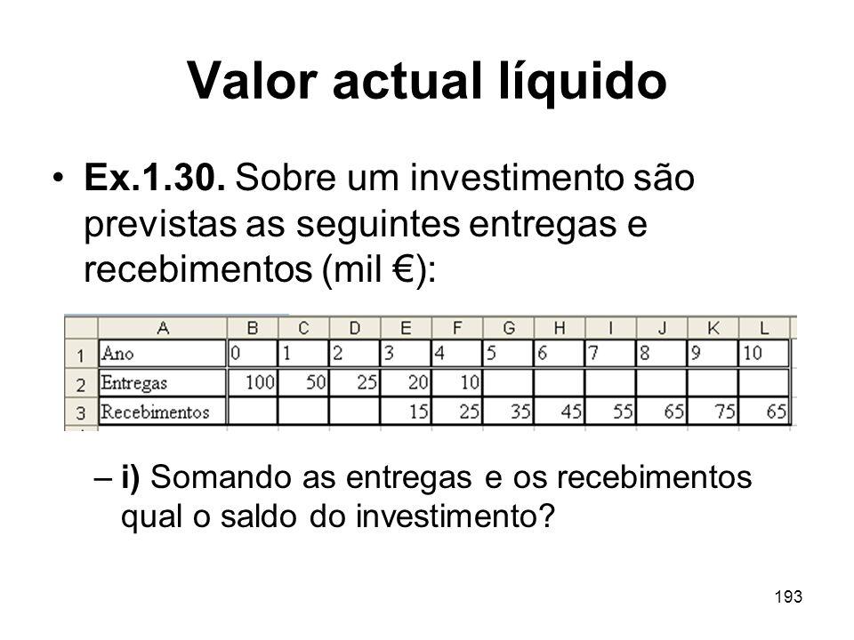Valor actual líquido Ex.1.30. Sobre um investimento são previstas as seguintes entregas e recebimentos (mil €):