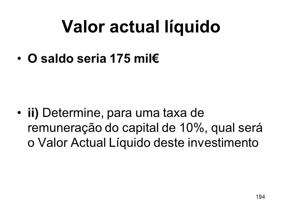 Valor actual líquido O saldo seria 175 mil€