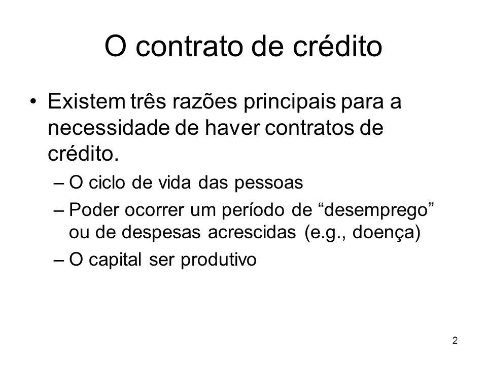 O contrato de crédito Existem três razões principais para a necessidade de haver contratos de crédito.