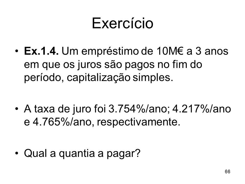 Exercício Ex.1.4. Um empréstimo de 10M€ a 3 anos em que os juros são pagos no fim do período, capitalização simples.