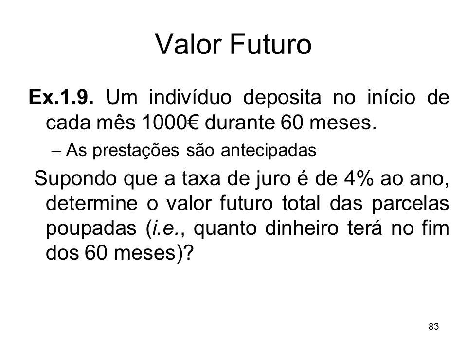 Valor FuturoEx.1.9. Um indivíduo deposita no início de cada mês 1000€ durante 60 meses. As prestações são antecipadas.