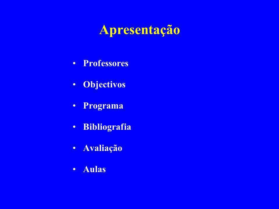 Apresentação Professores Objectivos Programa Bibliografia Avaliação