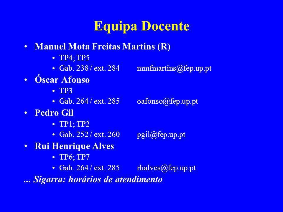 Equipa Docente Manuel Mota Freitas Martins (R) Óscar Afonso Pedro Gil