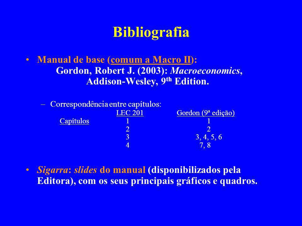 Bibliografia Manual de base (comum a Macro II): Gordon, Robert J. (2003): Macroeconomics, Addison-Wesley, 9th Edition.