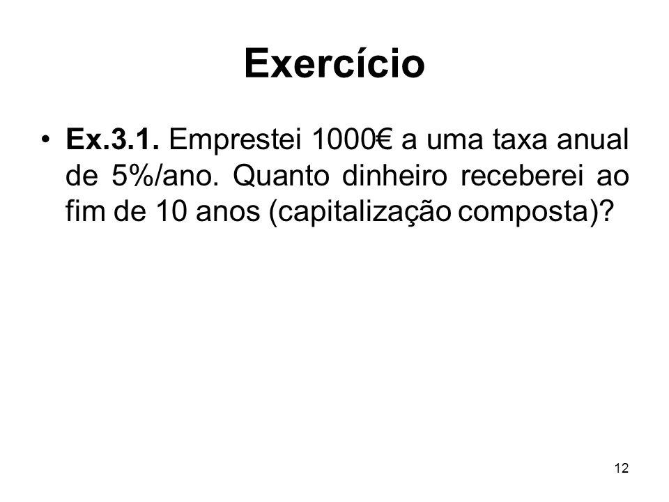Exercício Ex.3.1. Emprestei 1000€ a uma taxa anual de 5%/ano.