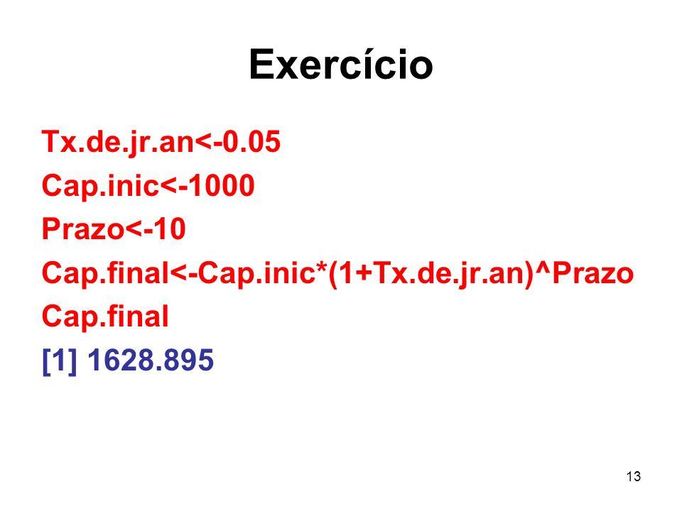 Exercício Tx.de.jr.an<-0.05 Cap.inic<-1000 Prazo<-10