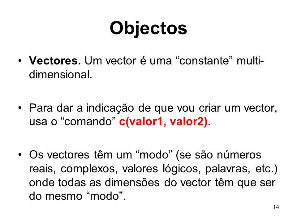 Objectos Vectores. Um vector é uma constante multi-dimensional.