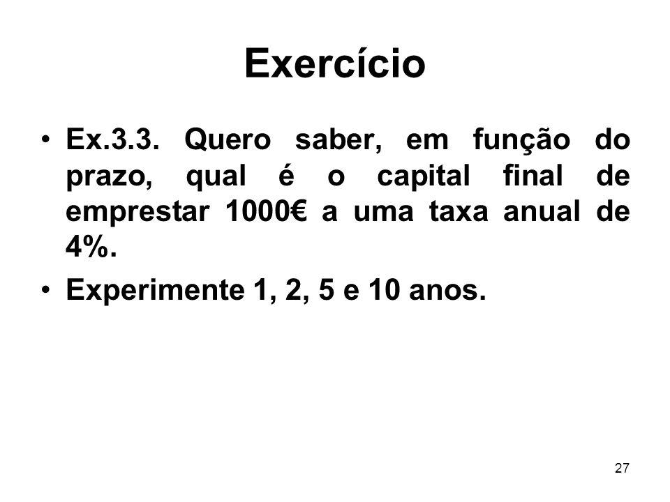 Exercício Ex.3.3. Quero saber, em função do prazo, qual é o capital final de emprestar 1000€ a uma taxa anual de 4%.