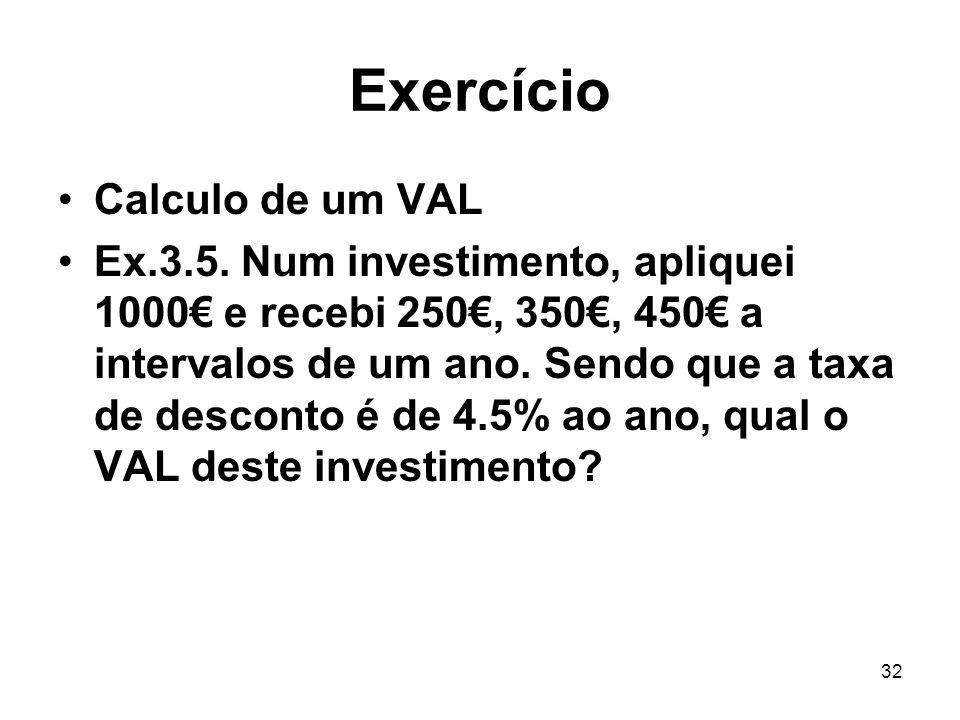 Exercício Calculo de um VAL
