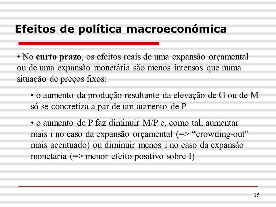 Efeitos de política macroeconómica