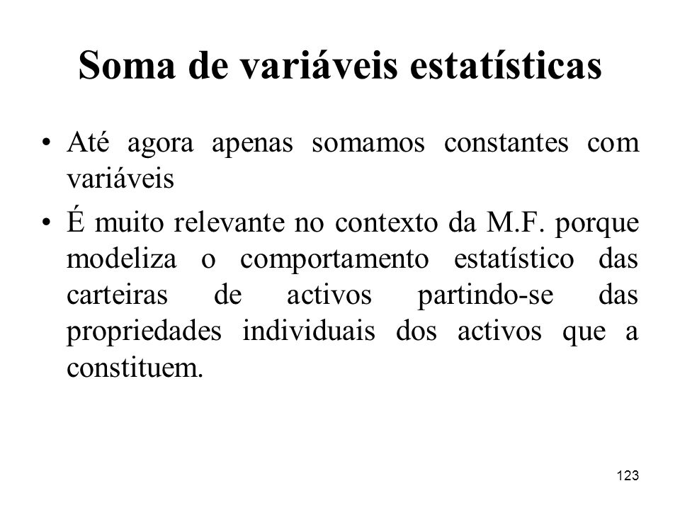 Soma de variáveis estatísticas