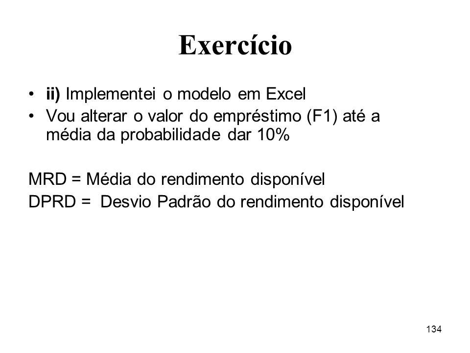 Exercício ii) Implementei o modelo em Excel
