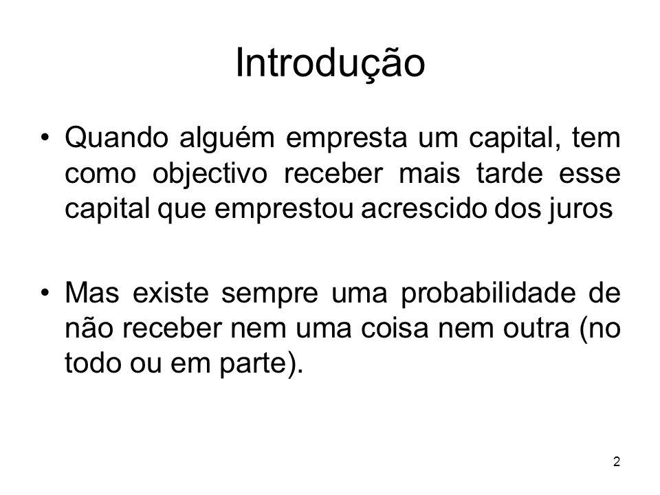 Introdução Quando alguém empresta um capital, tem como objectivo receber mais tarde esse capital que emprestou acrescido dos juros.
