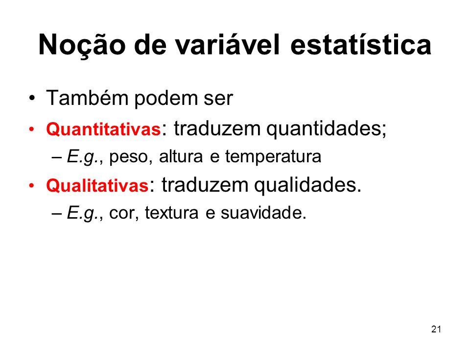 Noção de variável estatística