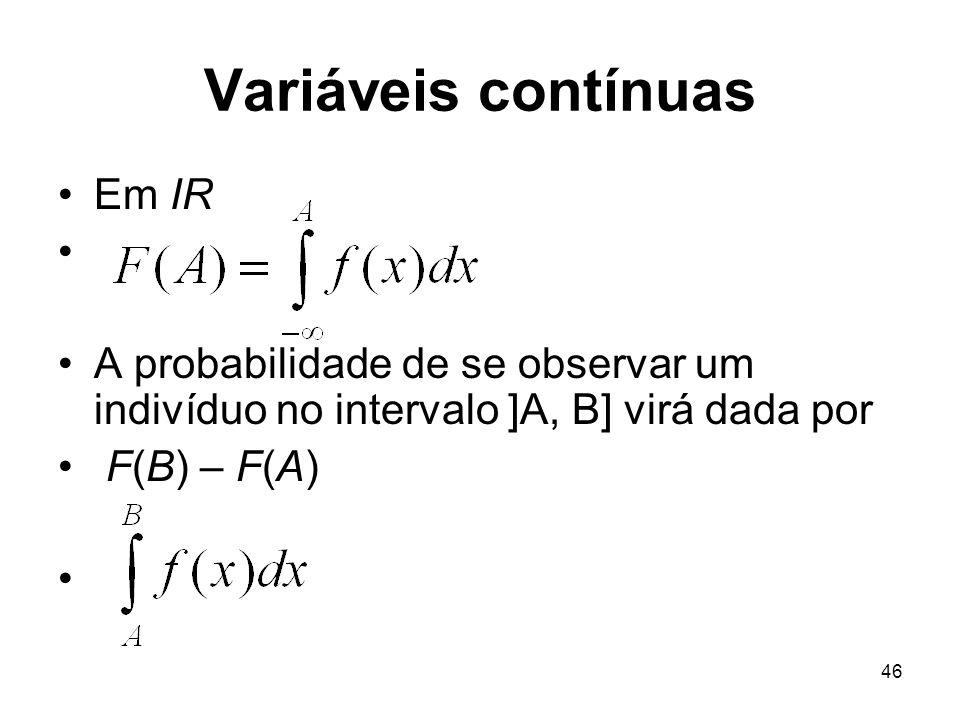 Variáveis contínuas Em IR