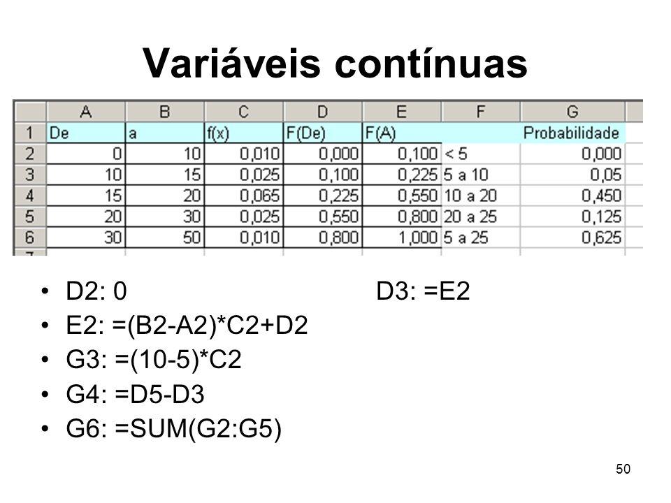 Variáveis contínuas D2: 0 D3: =E2 E2: =(B2-A2)*C2+D2 G3: =(10-5)*C2