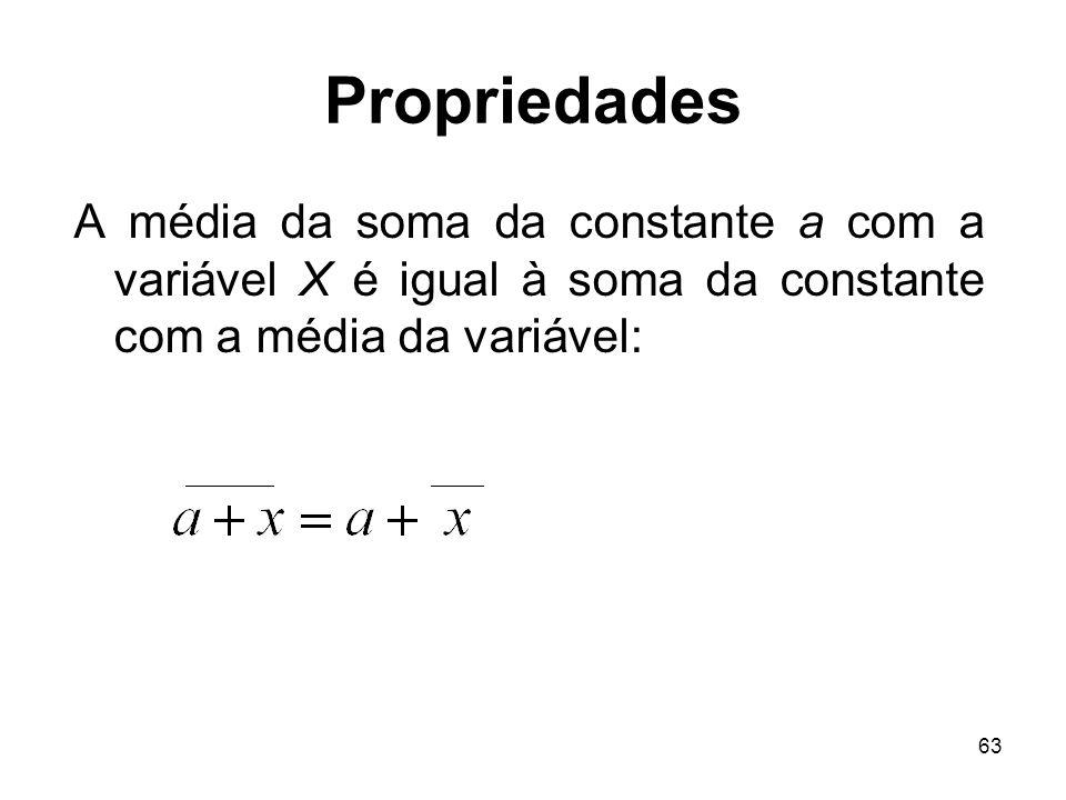 Propriedades A média da soma da constante a com a variável X é igual à soma da constante com a média da variável: