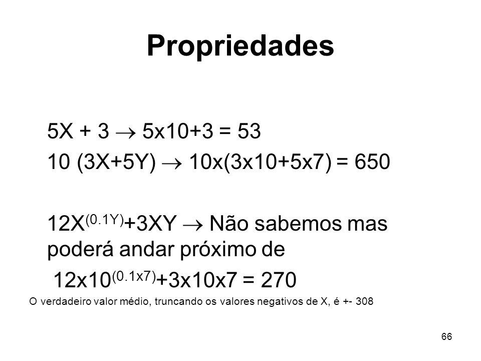 Propriedades 5X + 3  5x10+3 = 53 10 (3X+5Y)  10x(3x10+5x7) = 650