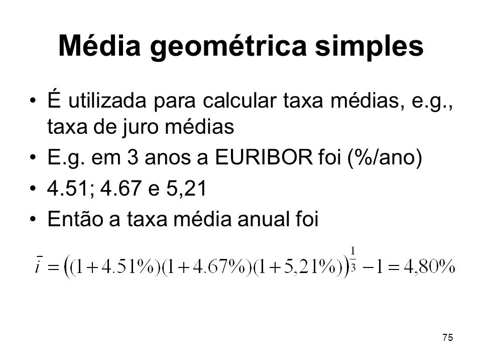 Média geométrica simples