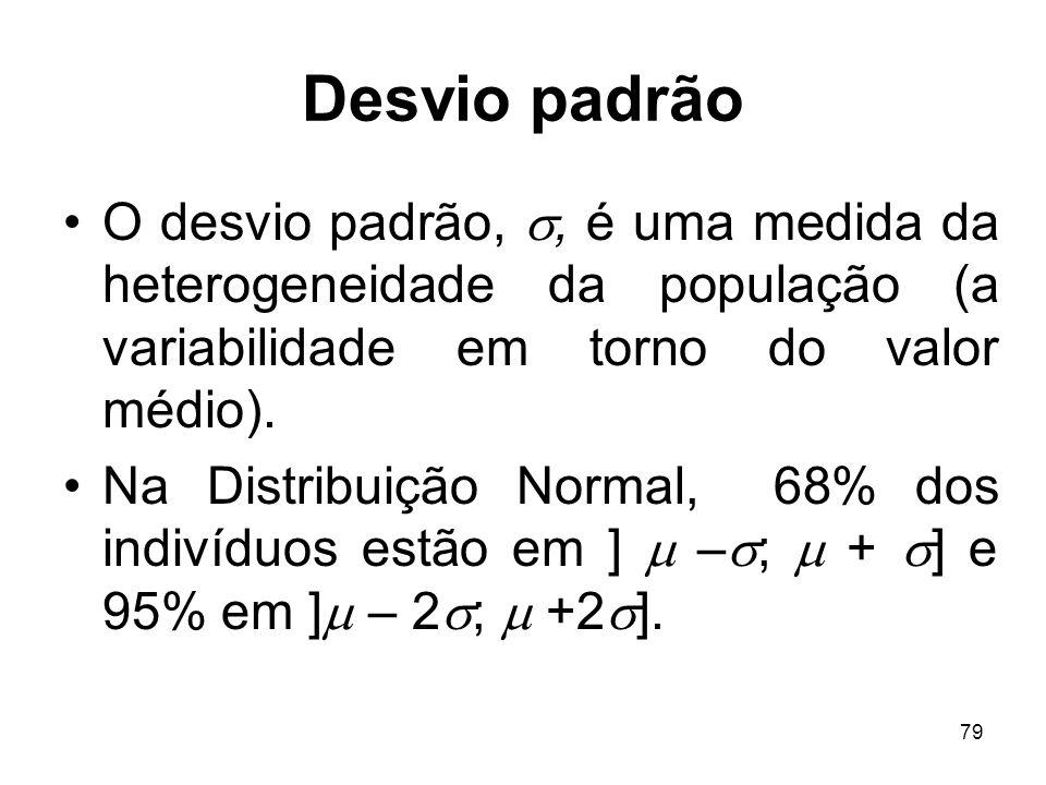 Desvio padrão O desvio padrão, , é uma medida da heterogeneidade da população (a variabilidade em torno do valor médio).