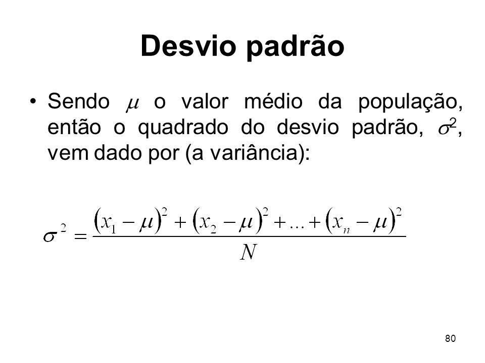 Desvio padrão Sendo  o valor médio da população, então o quadrado do desvio padrão, 2, vem dado por (a variância):