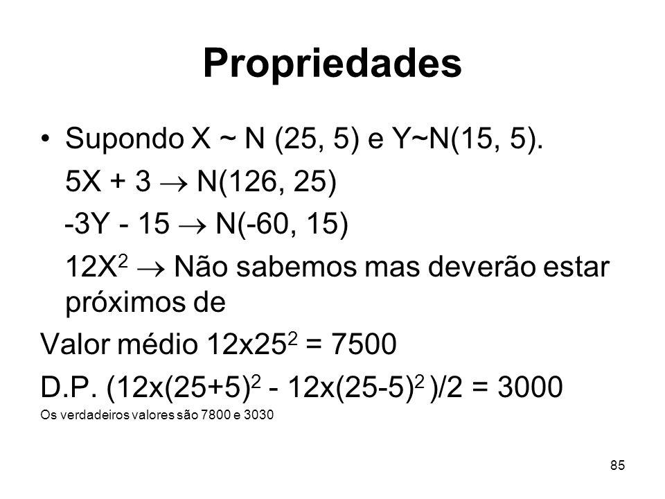 Propriedades Supondo X ~ N (25, 5) e Y~N(15, 5). 5X + 3  N(126, 25)