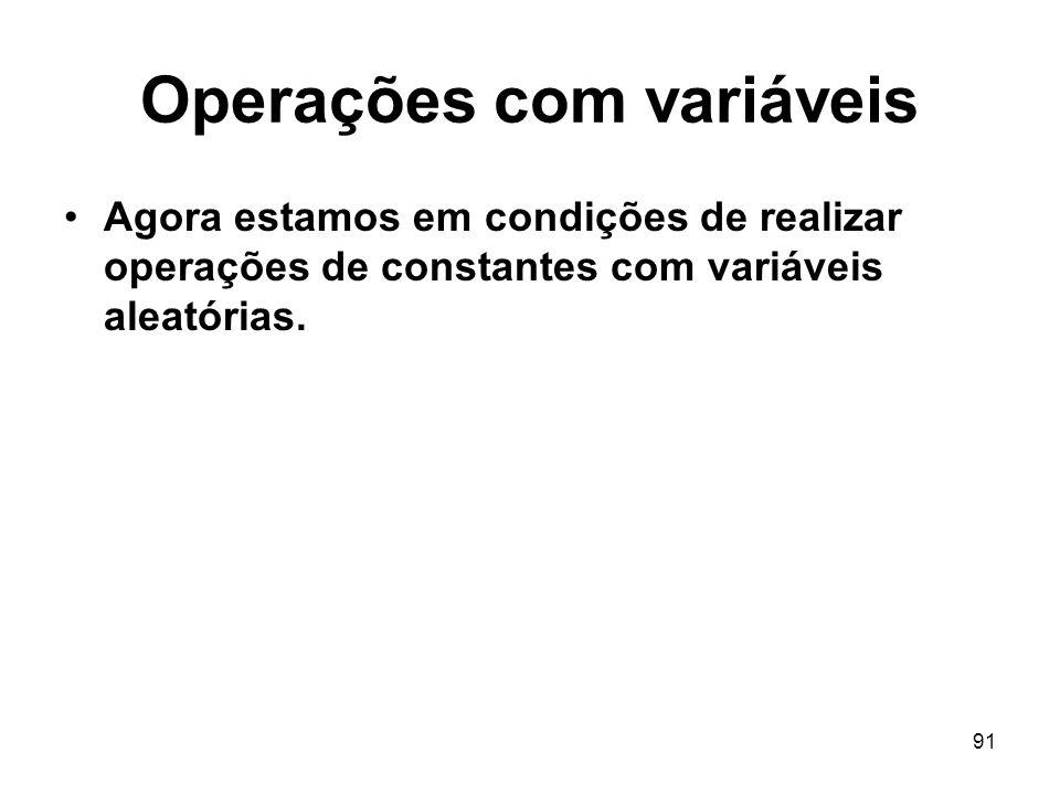 Operações com variáveis
