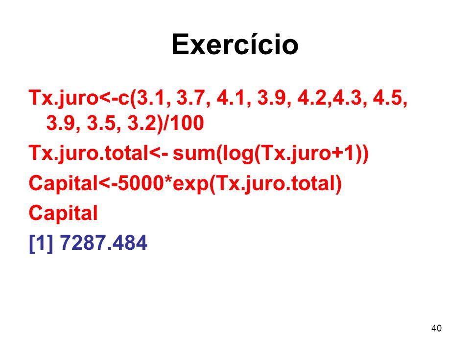 Exercício Tx.juro<-c(3.1, 3.7, 4.1, 3.9, 4.2,4.3, 4.5, 3.9, 3.5, 3.2)/100. Tx.juro.total<- sum(log(Tx.juro+1))