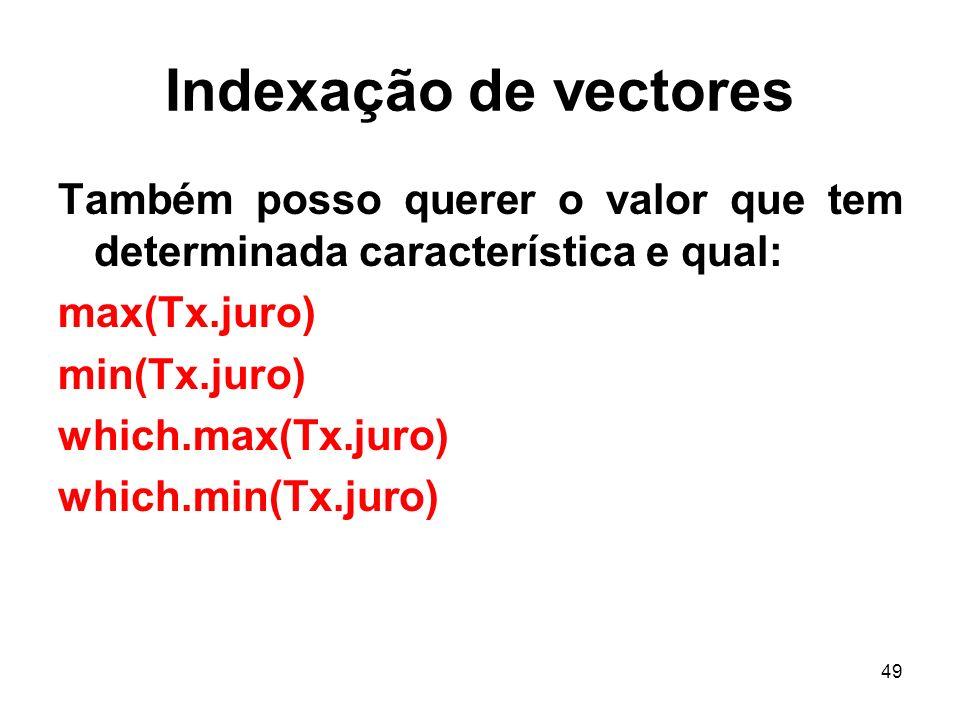 Indexação de vectores Também posso querer o valor que tem determinada característica e qual: max(Tx.juro)