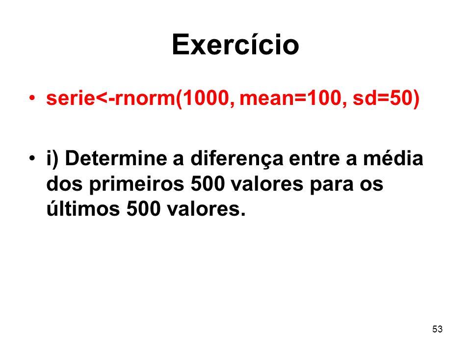 Exercício serie<-rnorm(1000, mean=100, sd=50)