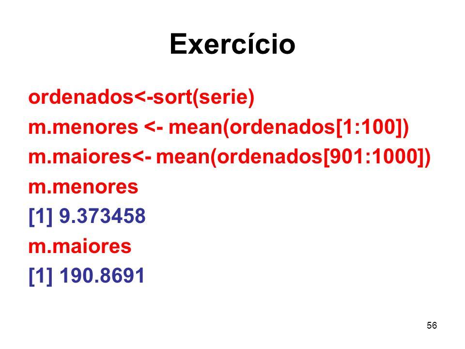 Exercício ordenados<-sort(serie)