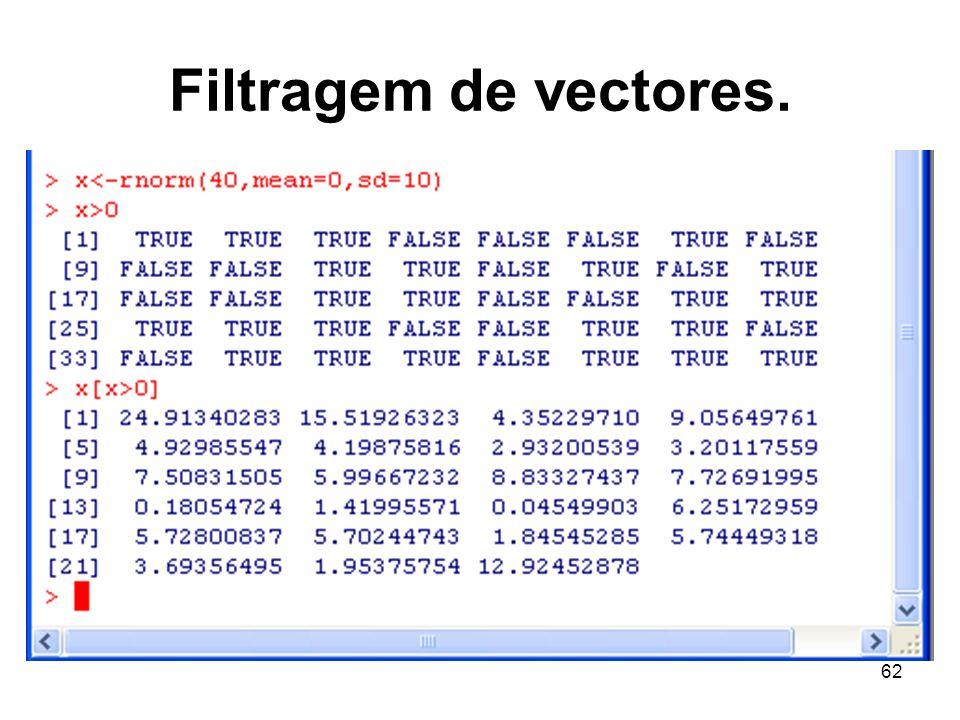Filtragem de vectores.