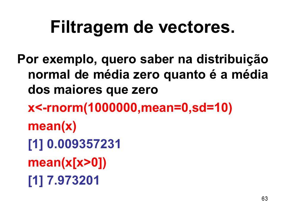 Filtragem de vectores. Por exemplo, quero saber na distribuição normal de média zero quanto é a média dos maiores que zero.