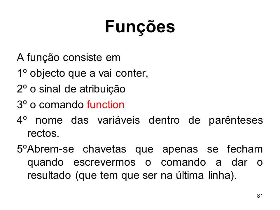 Funções A função consiste em 1º objecto que a vai conter,
