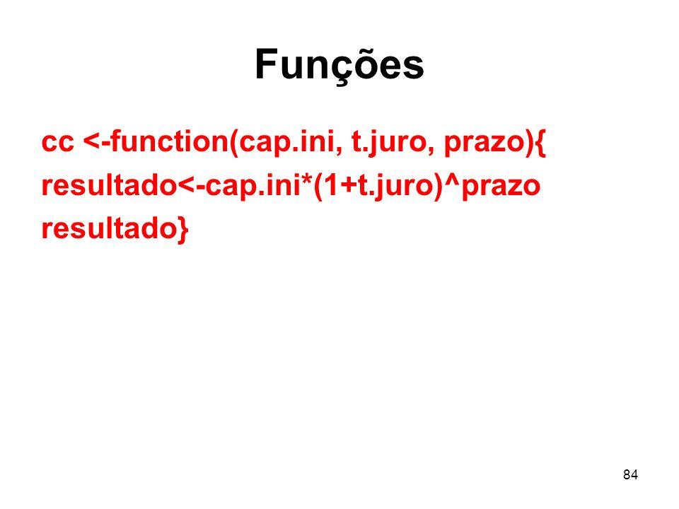 Funções cc <-function(cap.ini, t.juro, prazo){