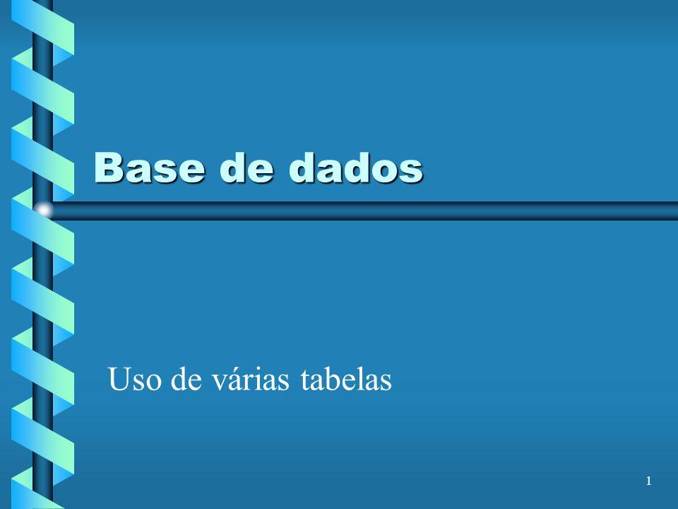 Base de dados Uso de várias tabelas